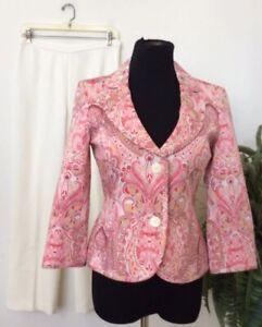 Kasper/Le Suit Mismatched Pink Ivory Cotton Blend 2 Piece Pant Suit Sz 4/4P EUC!