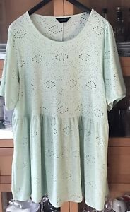 Ladies Size 22-24 Stretch Fabric YOURS Pale Green Embroidery Dress Smock Top VGC
