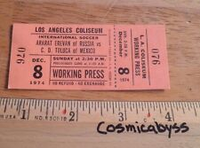 1974 C.D. Toluca Mexico vs Ararat Erevan Russia soccer Ticket Los Angeles Press