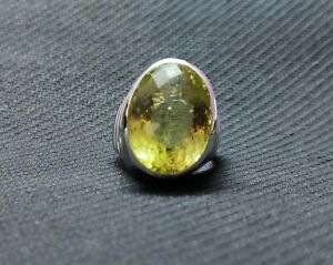 Lemon Quartz Men Ring Large Stone 20 Ct Lemon Topaz Mens Ring