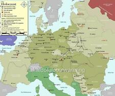Map 1939 - 1945 Holocaust Nazi Concentration Camps WW2