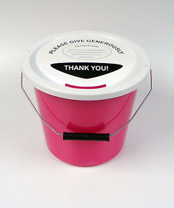 Charity Fundraising Money Collection Bucket with Lids, Labels & Ties - Pink