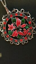 RED CHRISTMAS FLOWER NECKLACE