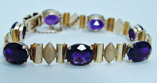 Retro 14K Gold 22.40cts African Amethyst Heavy Gold Stunning Estate Bracelet