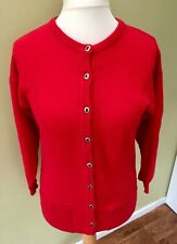 Mackinnon Scotland Cardigan Red 12 lambswool buttons long sleeves pockets I1
