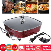 12 in Deluxe Nonstick Electric Skillet Frying Fry Pan Buffet Server Glass Cover