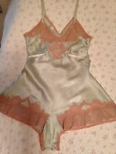 Vtg 40's Mint Green Silk Teddie Mocha French Lace Step-in Knickers Tagged Sz 36