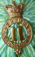 VICTORIAN 11th North Devon Regiment Glengarry Badge QVC Brass ANTIQUE Original