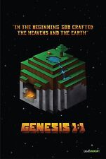 """New! In The Beginning - Christian Minecraft (24""""x36"""") Poster - by WallGEEKER.com"""