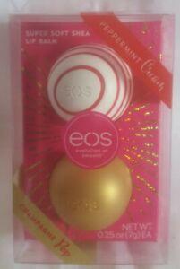 EOS Peppermint Cream / Champagne Pop Super Soft Shea Lip Balm