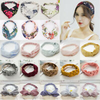 Women Yoga Elastic Floral Hair Band Headband Turban Twisted Knotted Headwrap