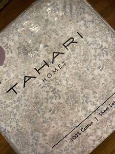 TAHARI HOME Floral Paisley Gray Blue Taupe White 100% COTTON King Sheet Set NIP