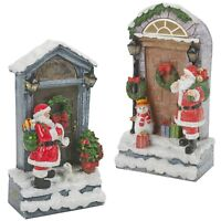 LED Light Up Christmas Festive Santa Snow Front door Scene Display Decoration