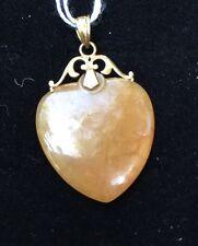 H8 antique JADEITE heart PENDANT 14k gold c.1900 Natural Rust Red Jade