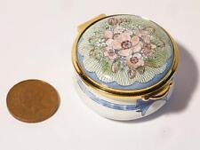 Vintage Wedding Bouquet Bells Staffordshire Enamels Pill Trinket Box - Boxed #5
