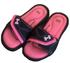 Under Armour 4D Foam Sandals Youth 1 Pink Black Slides Slip On Hook Loop