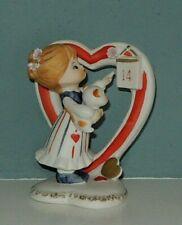 Vtg Lefton Valentine Girl Holding Kitty Cat Red Heart Calendar Figurine