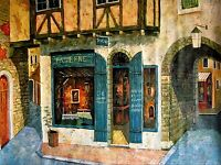 Stretched, 100% Hand Painted Oil Painting, European Storefront Series II 36x48in