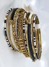 AMRITA SINGH - Gorgeous 10 bangles - MARSEILLE Black & Cream - NEW WITH TAGS