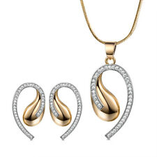 Fashion Drops Silver & Gold Filled Swarovski Crystal Earrings Necklace Lady SET