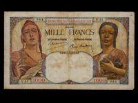 Madagascar:P-41,1000 Francs,1945 * Local Woman & Liberty * F *
