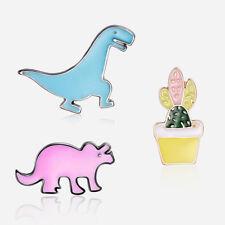 EG_ 3Pcs/Set Cartoon Dinosaur Cactus Enamel Badge Collar Brooch Pin Jewelry Myst