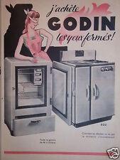 PUBLICITÉ 1953 GODIN CUISINIÈRE AU CHARBON OU AU GAZ - R.RABAUX & Cie GUISE