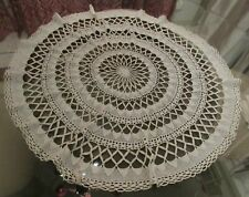 Pretty Vintage Crochet Round Tablecloth Hand Made Small Table Victorian Cottage