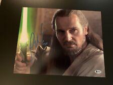 Liam Neeson Signed 11x14 Star Wars Photo Beckett BAS Qui Gon Jinn Phantom Menace
