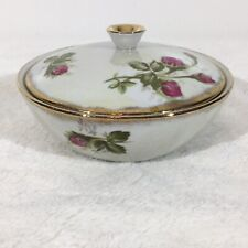 Vintage Norcrest Fine China Mossrose Dish With Gold Trim & Matching Lid, Floral