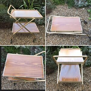 Mid Century Modern Brass Tone & Wood Veneer Folding Drinks Tea Trolley Bar Cart