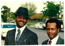 Vintage 80s PHOTO Pair Black Men Guys In Suits & Hat Close Up