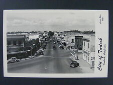 Turlock California CA Street View Store Signs Cars Real Photo Postcard RPPC 1951