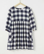 Hanna Andersson Girls Black White Buffalo Check Plaid Flannel Dress Size 8 130
