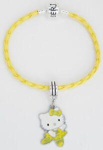 """Hello Kitty Yellow Ballerina on a Yellow Braided Serjaden Bracelet 6"""" to 8"""" #274"""