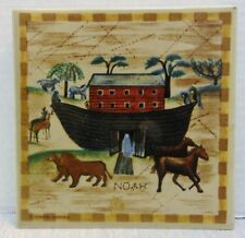 OTAGIRI Carol Endres Noah Tile Trivet Folk Art Paint Noah's Ark Bible Scene