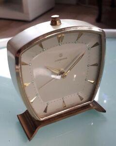 JUNGHANS Wecker 50er Vintage 60er Uhr Handaufzug Messing emailiert Alarm mechani