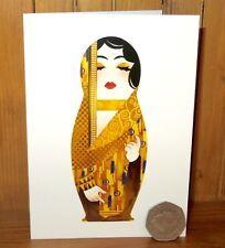 Artist made GREETING BIRTHDAY CARD Russian DOLL Gustav KLIMT inspired MATRYOSHKA