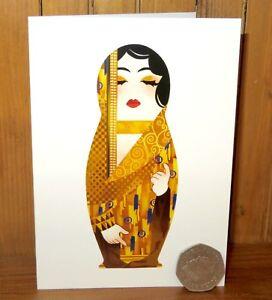 Gustav KLIMT MATRYOSHKA GREETING BIRTHDAY CARD Nesting Russian DOLL Artist made