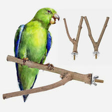 Parrot Raw Wood Fork Stand Rack Toy Hamster Branch Perches for Pet Bird Cage 1pc