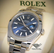 **Rolex Datejust II Stainless Steel Blue Dial Mens Watch Box/Papers 116300**