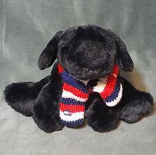 """2002 Tommy Hilfiger Plush Black Lab Dog Mascot / Scarf w/ Logo Commonwealth 11"""""""