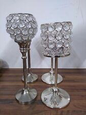 Bling Crystals Candle Holders on Stands 2 Pairs - EPP