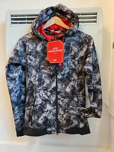 Gore Woman windstopper trail camo grey hooded jacket,Size 2, EUR size 34,USA XS
