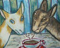 NIGERIAN DWARF Dairy Goat Drinking Coffee Folk Art Print 8x10 Farm Collectible