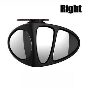 1Pcs Car Co-pilot Blind Spot Wide Angle Mirror 360° Adjustable Three Lens Black