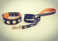 "Bestia ""Bijou"" Set- collar & leash. Studded. Soft padded. 2 inch wide. handmade!"