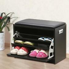 Wood Shoe Storage Bench Ottoman Cabinet Closet Shelf Entryway Multipurpose Black