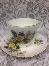 DUCHESS BONE CHINA CUP & SAUCER Violets Buttercups Purple Yellow Flowers England