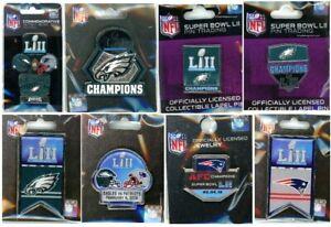 Eagles Patriots Super Bowl LII Pin Choice 8 Pins Philadelphia New England 52 MN